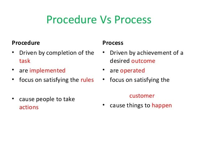 Difference Between Process And Procedure - What is Process - What is Procedure